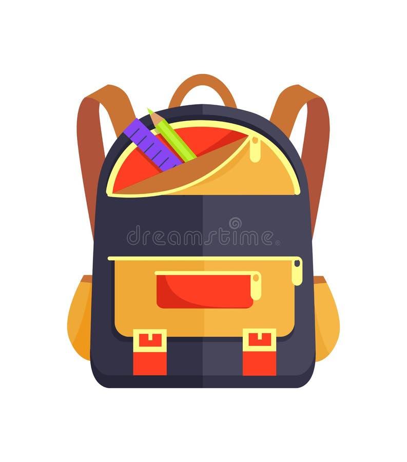Rucksack für Kind mit Schulbriefpapier-Zusatz vektor abbildung