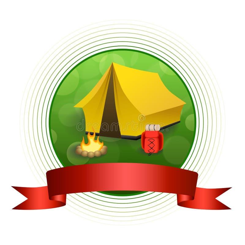 Rucksackfeuerkreisrahmen-Bandillustration des gelben Zeltes des Tourismus des Hintergrundes abstrakte grüne kampierende rote vektor abbildung