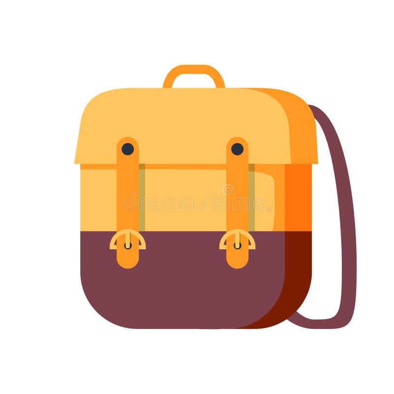 Rucksackvektor-Schulsymbol Reiseikone in der flachen Art lizenzfreie abbildung