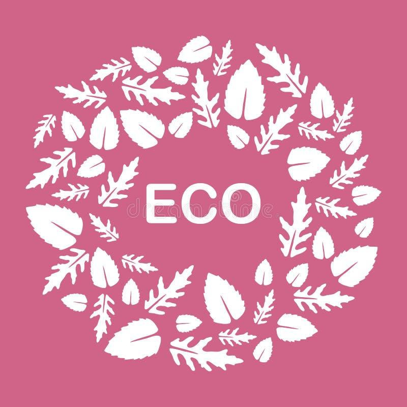 Rucola, foglie del basilico Eco, vegano, bio-, organico illustrazione di stock