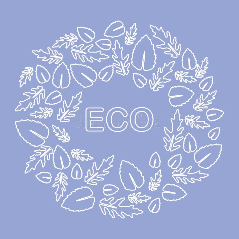 Rucola, foglie del basilico Eco, vegano, bio-, organico illustrazione vettoriale