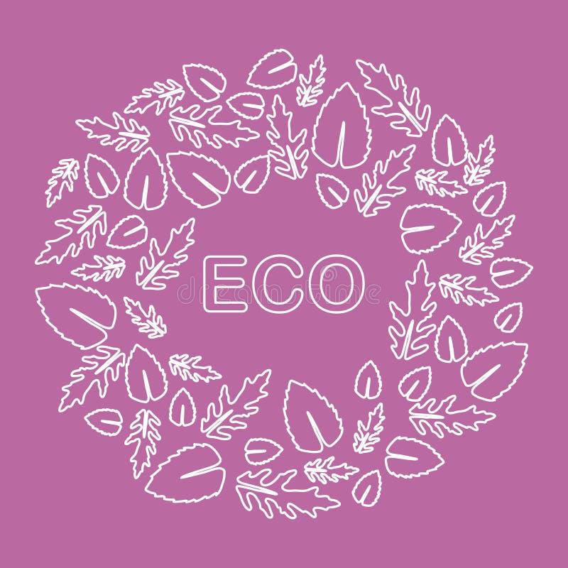 Rucola, foglie del basilico Eco, vegano, bio-, organico royalty illustrazione gratis