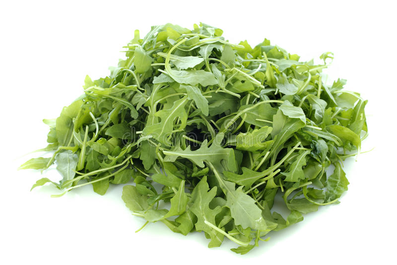 Rucola salad. In front of white background stock photo