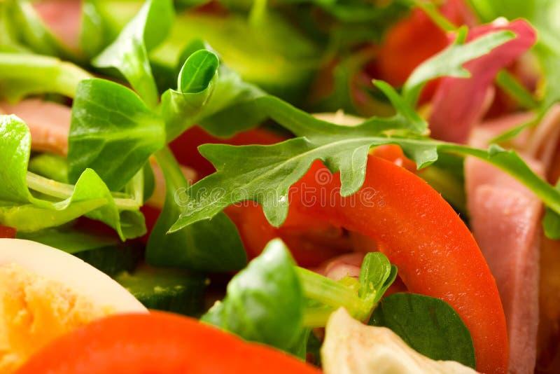 Rucola Salad. Closeup shot of rucola leaf in a salad bowl stock photo