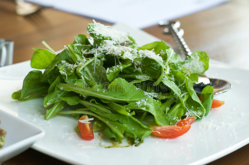 Rucola salad. With shredded white cheese and cherry tomatoes on a white plate. Shallow depth of field royalty free stock images