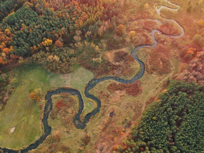 Ruda river in Poland. Top down. Autumn stock photos