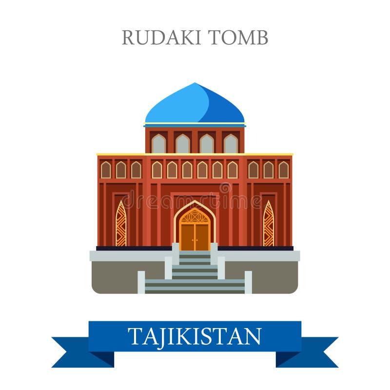 Rudaki Poet Tomb Tajikistan vector flat attraction sightseeing. Rudaki Poet Tomb in Tajikistan. Flat cartoon style historic sight showplace attraction web site vector illustration