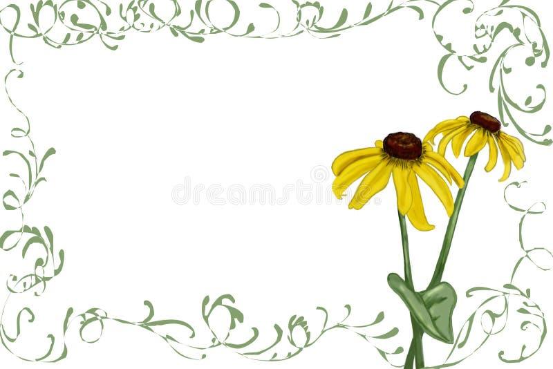 Rudbeckia met groene wijnstokken vector illustratie