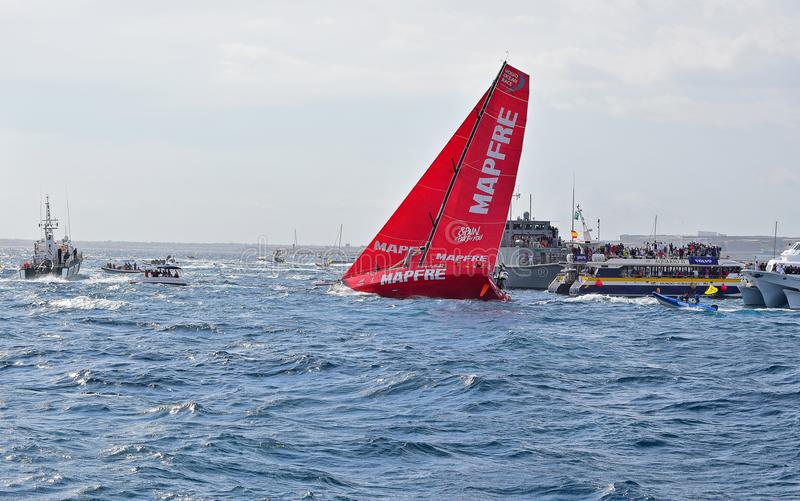 Rudder Clear Of The water On Mapfre Volvo Ocean Race Alicante 2017 royalty free stock images