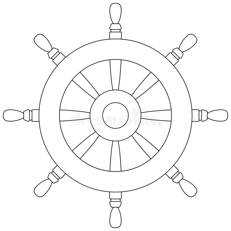 Rudder outline icon. Boat driving wheel coloring book page vector illustration