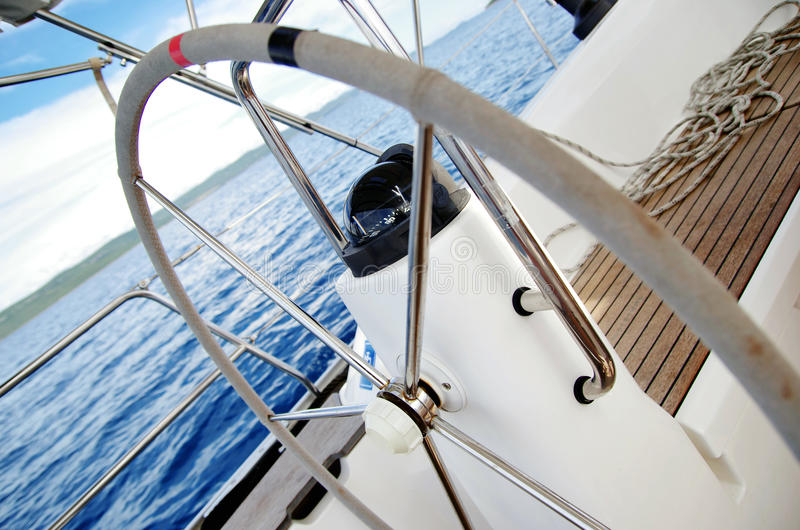The rudder of sailing boat. Yacht rudder. stock photography