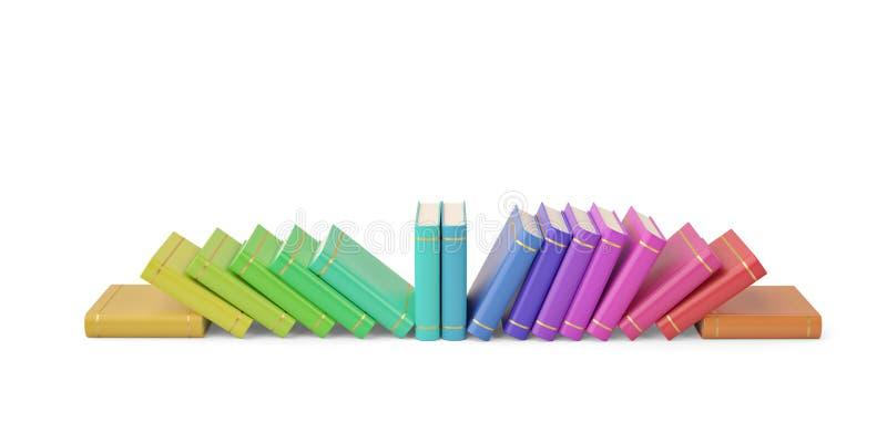 Rudern Sie Stapel bunte Bücher auf weißem Hintergrund Abbildung 3D lizenzfreie abbildung