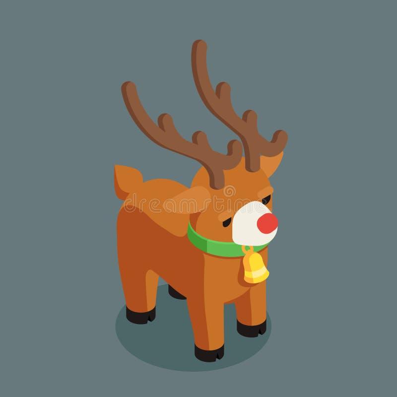 Rudolf bożych narodzeń Santa Claus jeleniego pomagiera charakteru nowego roku 3d kreskówki projekta wektoru isometric płaska ilus royalty ilustracja