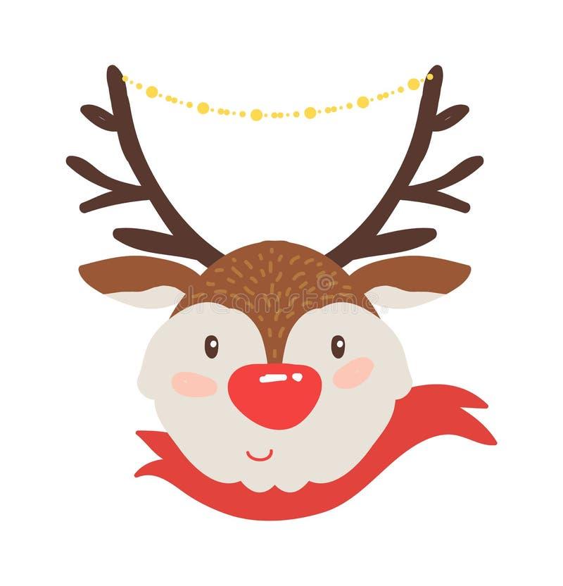 Rudolf Deer no ícone vermelho da ilustração do vetor do lenço ilustração stock