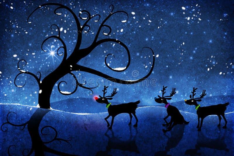 Rudolf och ren stock illustrationer