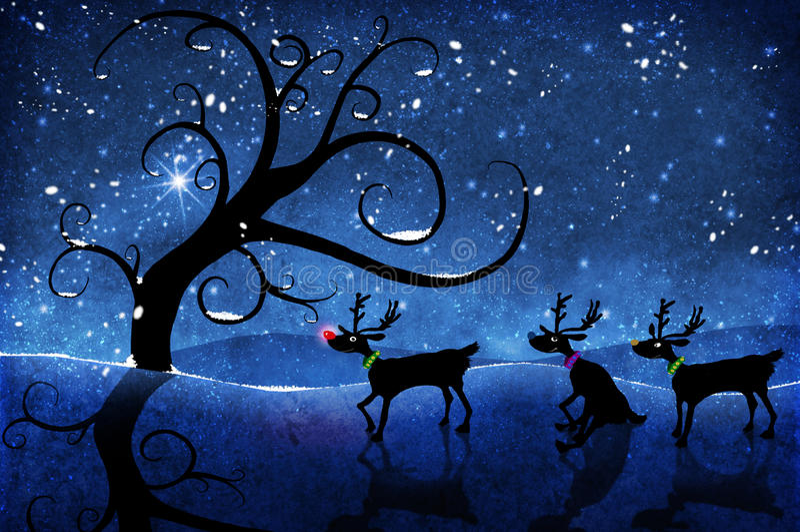 Rudolf and reindeer stock illustration