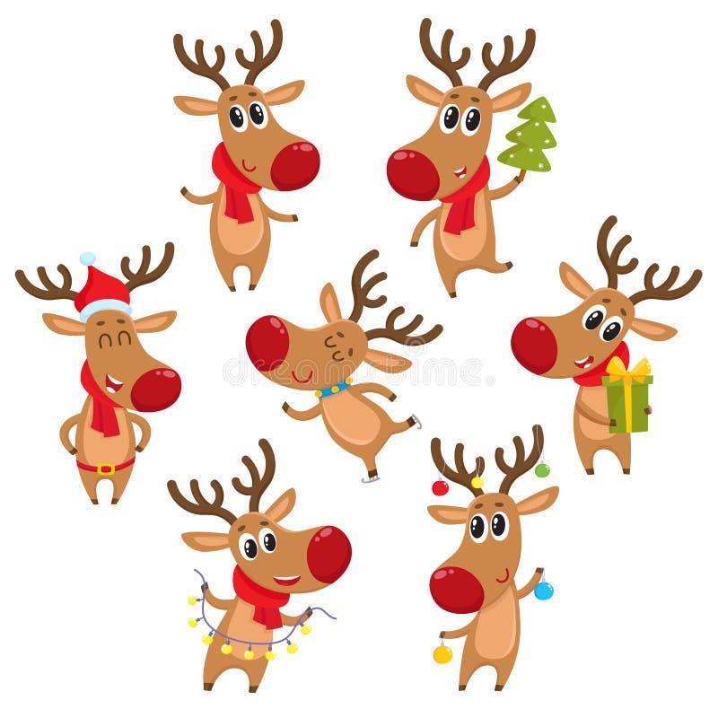 Rudolf-Ren mit Weihnachtsbaum, Geschenke, Girlande, Dekorationselemente lizenzfreie abbildung
