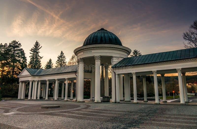 Rudolfuv pramen colonnade in Marianske Lazne in Czech republic. At evening royalty free stock photography