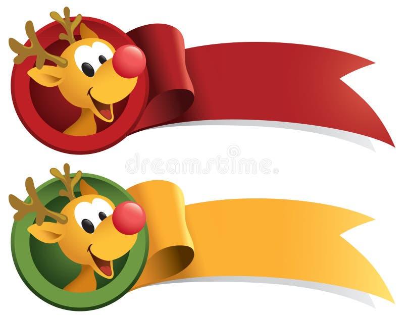 Rudolph Christmas Web Ribbon royalty free illustration