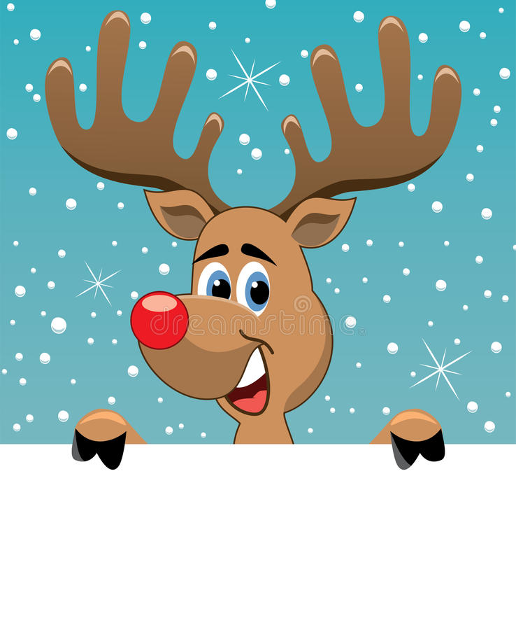 Rudolph Deer Holding Blank Paper Royalty Free Stock Images