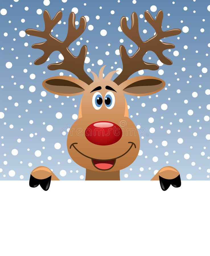 Rudolph deer holding blank paper