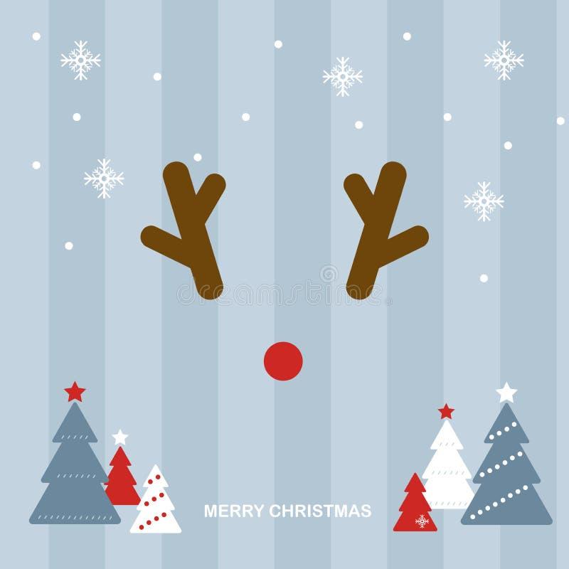 Rudolph den röda näsrenen i ljust - blå julplats royaltyfri illustrationer