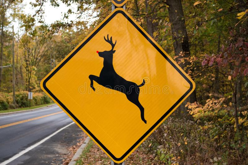 Rudolph het rode besnuffelde rendier die verkeersteken kruisen royalty-vrije stock foto