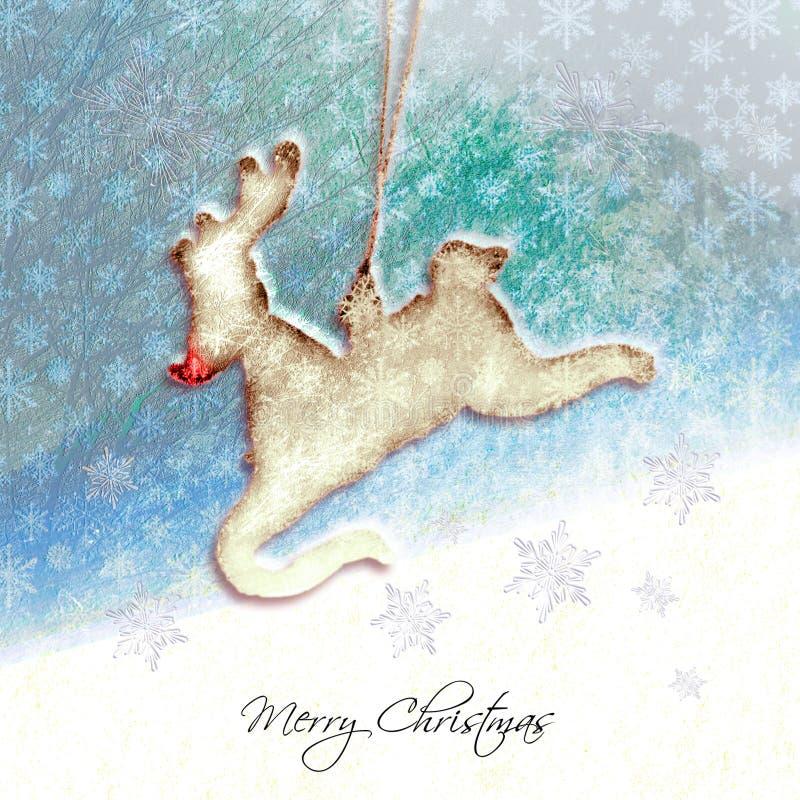 Rudolph la carte de Noël texturisée de renne rouge de nez images stock