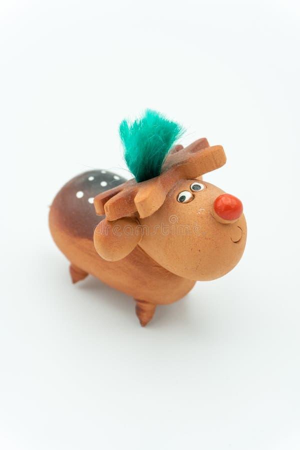 Rudolph le renne en céramique au nez rouge photos libres de droits