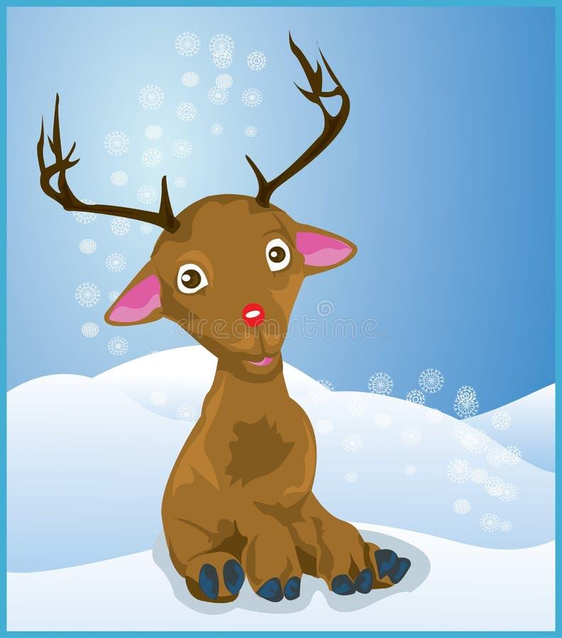 Rudolph le renne rouge de nez illustration de vecteur