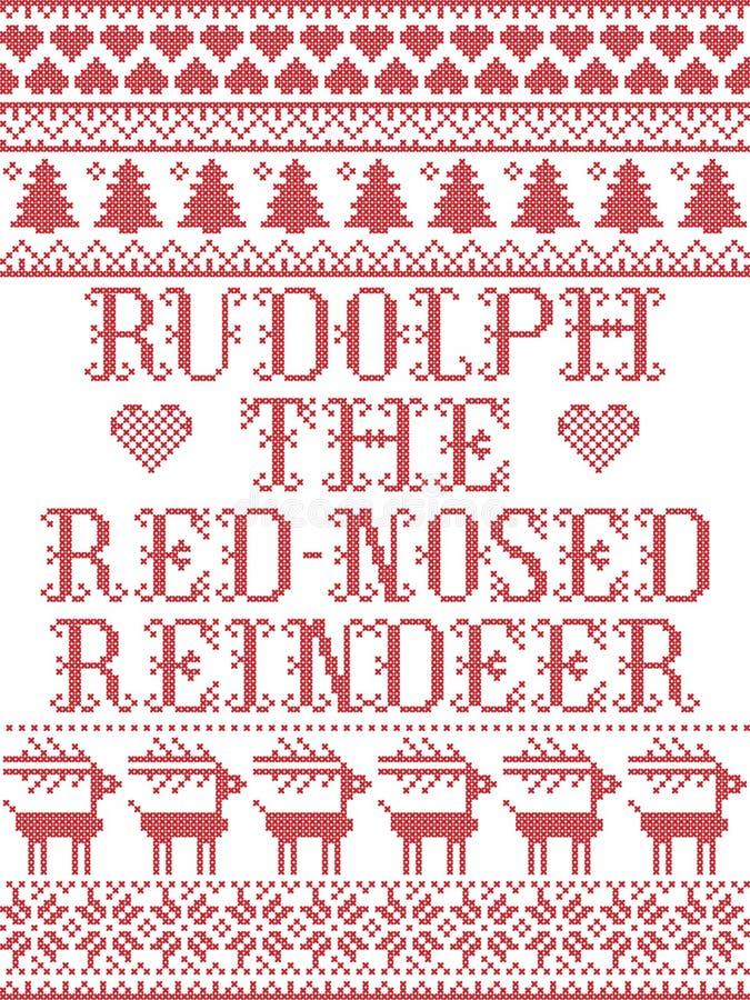 Rudolph que el modelo inconsútil escandinavo del reno con la nariz roja inspiró por invierno festivo de la cultura nórdica en pun stock de ilustración