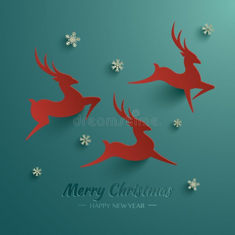 Rudolph Reindeer Tarjeta de felicitación stock de ilustración
