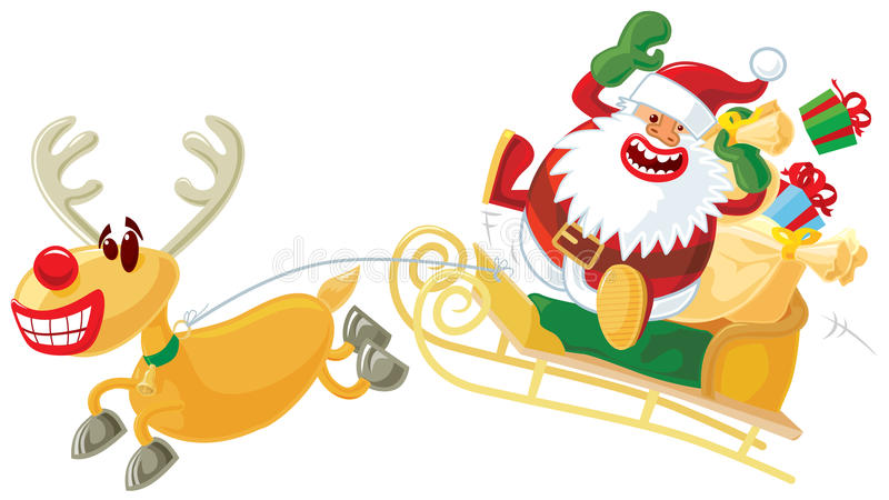 Rudolph and Santa on a sleigh. Funny Christmas illustration. Rudolph and Santa on a sleigh. Vector without gradients, great for printing stock illustration