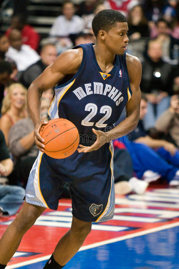 Rudy Gay. Of the Memphis Grizzlies has the ball during a game against the Detroit Pistons at the The Palace Of Auburn hills during the 2006-2007 season royalty free stock image