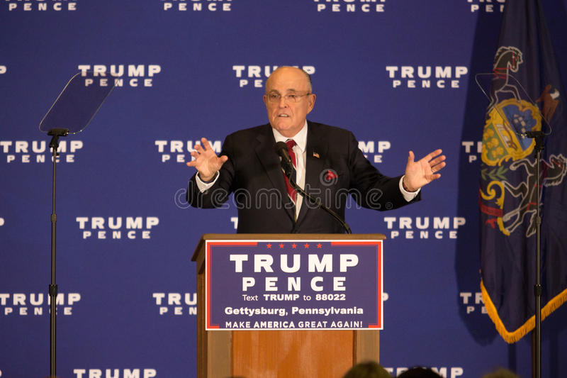 Rudy Giuliani Speaking in Gettysburg stockbild