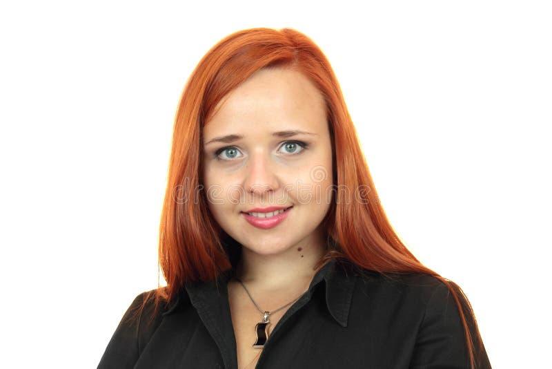 Rudzielec biznesowej kobiety zbliżenia twarzy portret fotografia stock