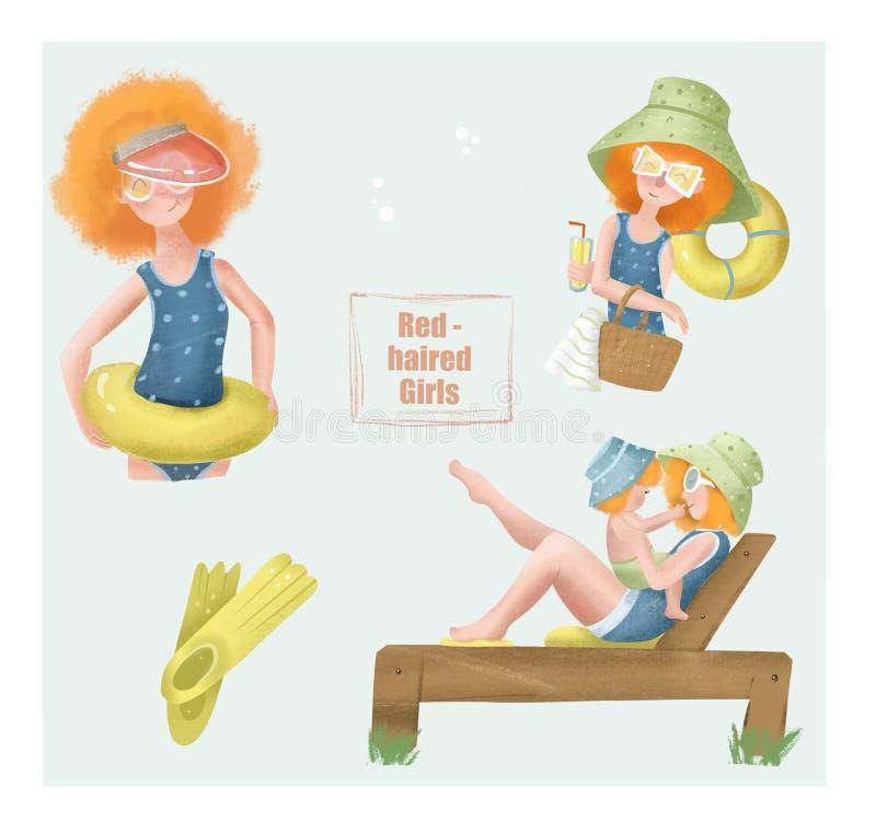 Rudzielec dziewczyny w kostiumu kąpielowym zbierali przy światło reflektorów Set ilustracje fotografia stock