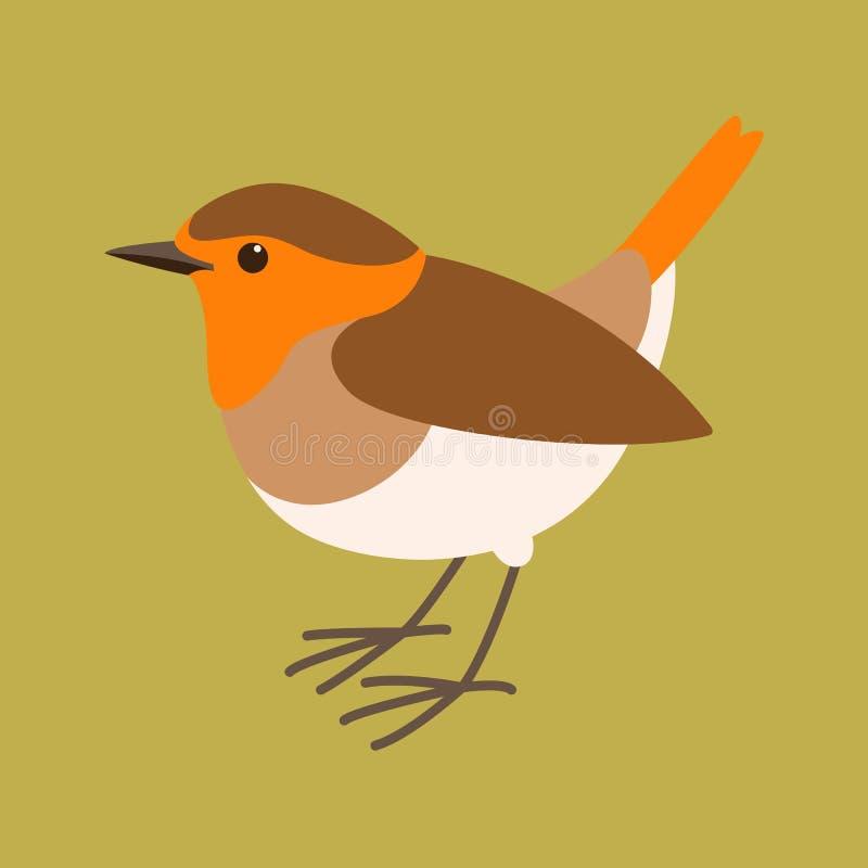 Rudzik ptasia wektorowa ilustracja, mieszkanie styl, profil ilustracja wektor
