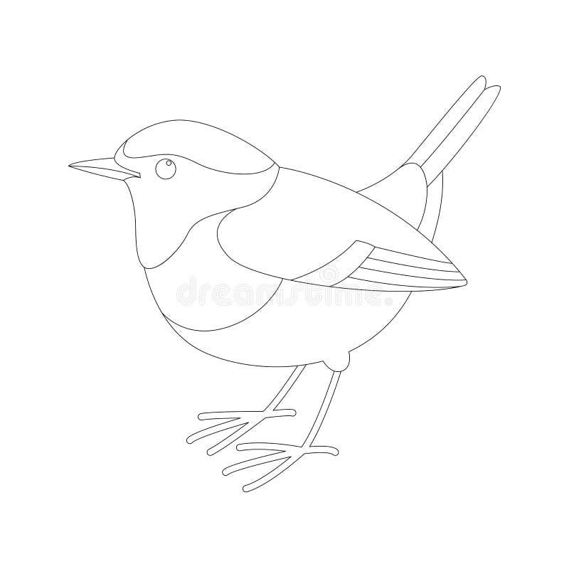 Rudzik ptasia wektorowa ilustracja, wykłada remis, profil royalty ilustracja
