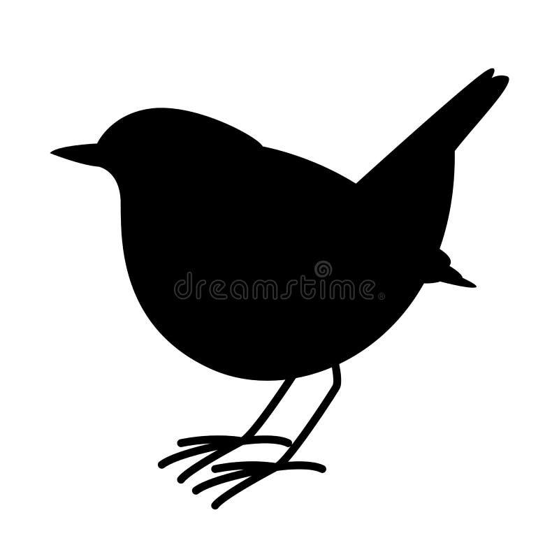 Rudzika ptak, wektorowa ilustracja, czarna sylwetka ilustracja wektor