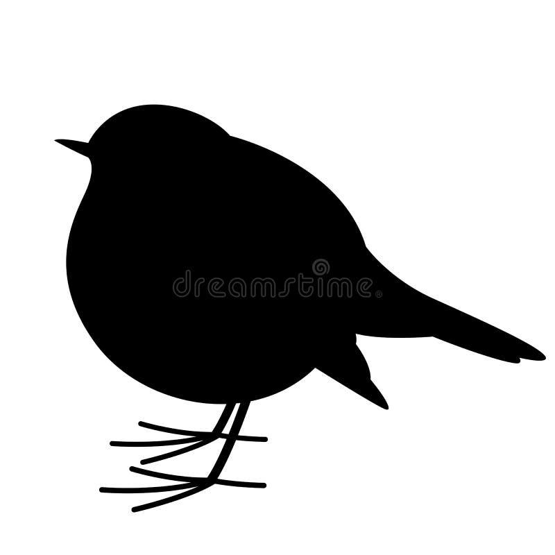 Rudzika ptak, wektorowa ilustracja, czarna sylwetka, profil ilustracji