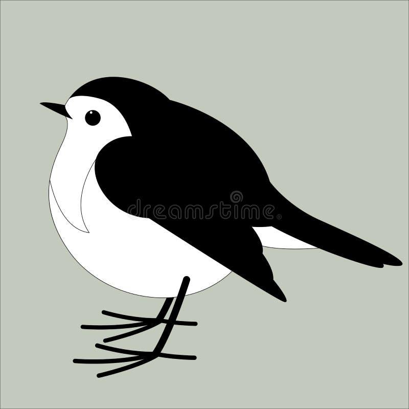 Rudzika ptak, wektorowa ilustracja, mieszkanie styl, profil royalty ilustracja