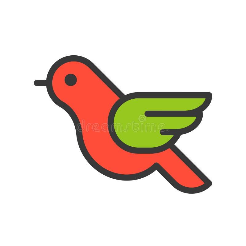 Rudzika ptak, Wesoło boże narodzenia odnosić sie ikona set, wypełniający konturu des ilustracja wektor