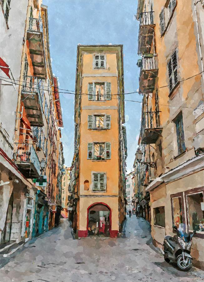 Rue à vieux Nice en France Illustration de Digital dans le style d'aquarelle illustration de vecteur