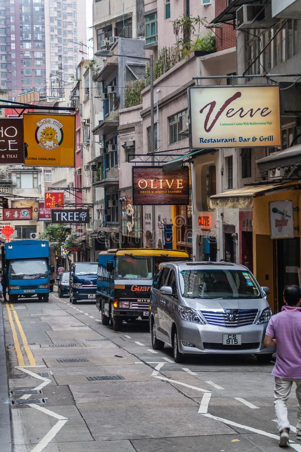 Rue étroite de Shelley avec des barres et des restaurants, Hong Kong Island, Chine photo stock