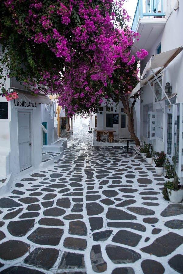 rue étroite traditionnelle dans Mykonos avec les portes bleues et les murs blancs photos stock