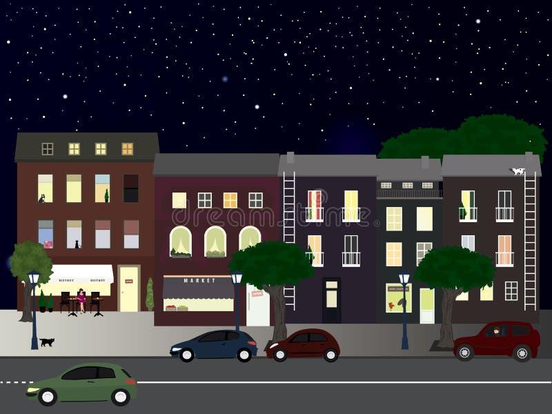 Rue allumée la nuit illustration libre de droits