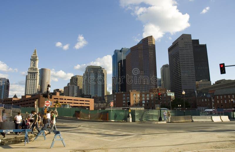 Rue animée de Boston dans la construction images stock
