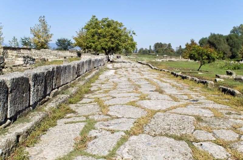 Rue antique d'ère romaine chez Dion de la Grèce images libres de droits