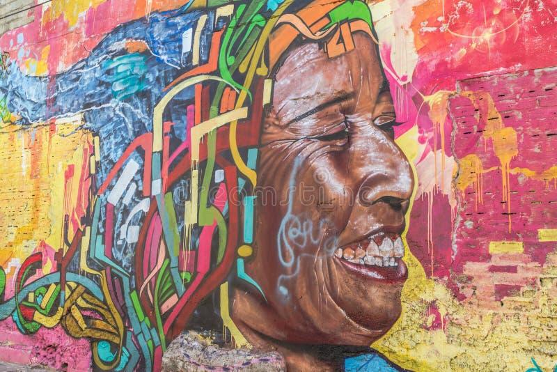 Rue Art Graffiti dans Getsemani, Carthagène images libres de droits